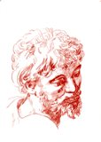 Kopie Hlava apoštola - kresba rudkou